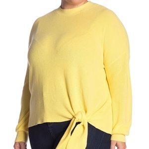 Abound Solid Yellow Tie Front Sweater Long Sleeve